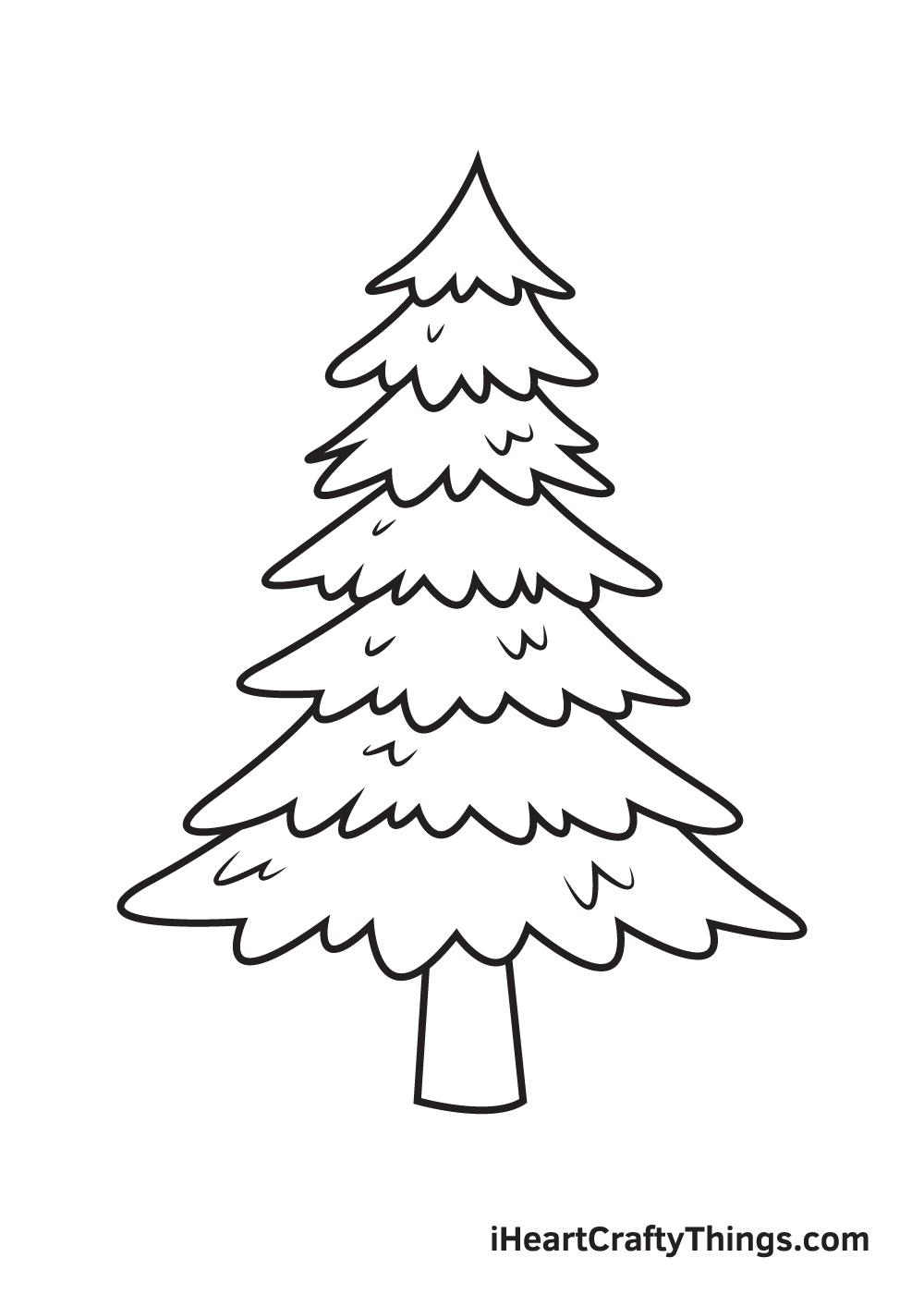 pine tree drawing step 9