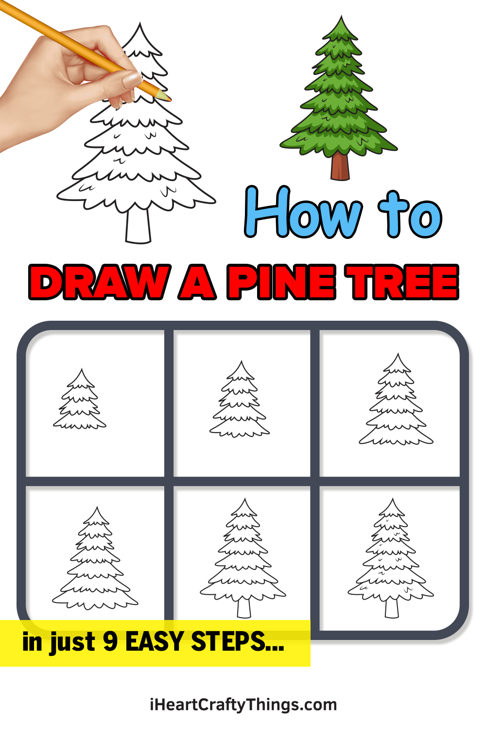 how to draw a pine tree in 9 easy steps
