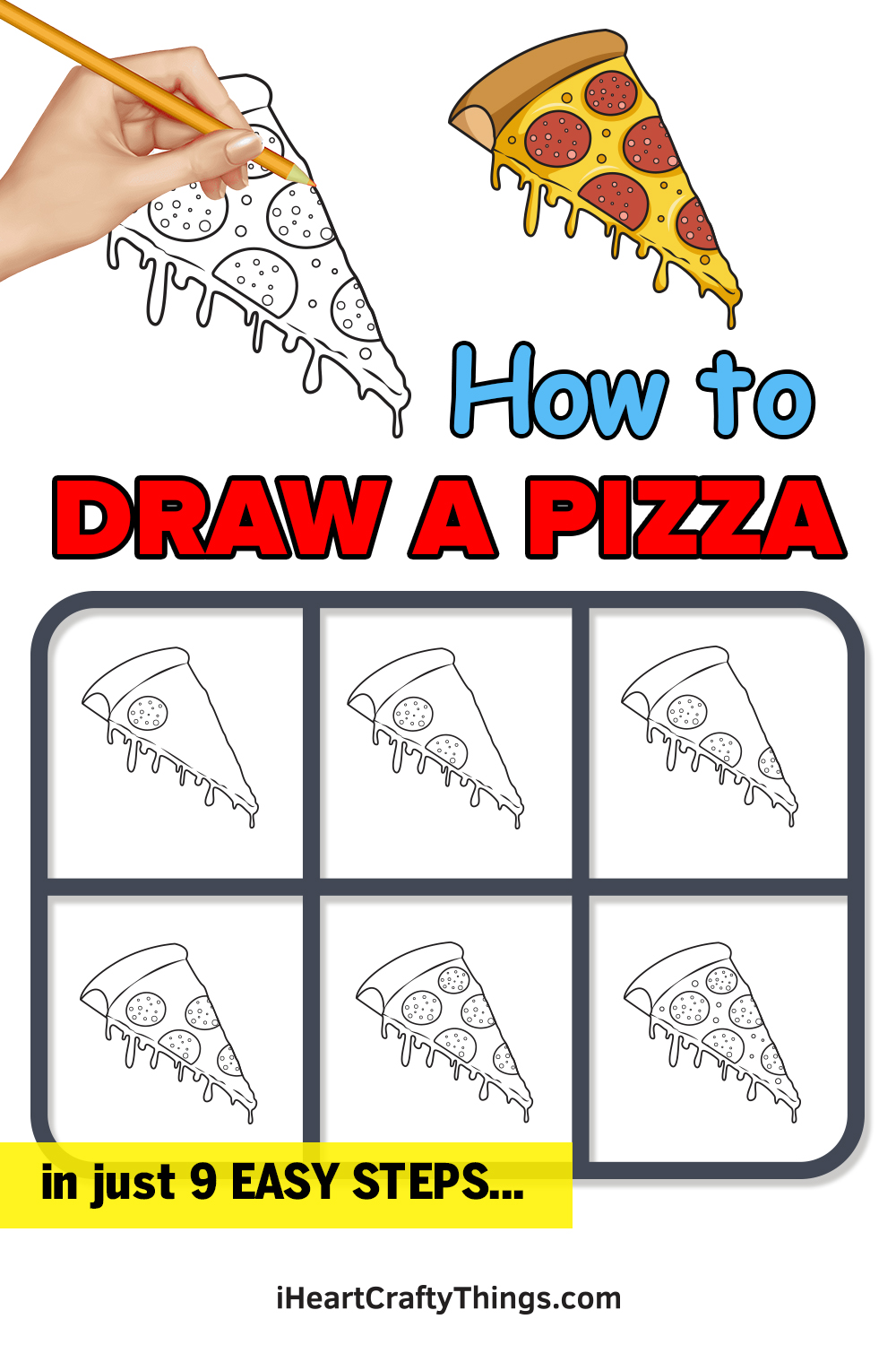 how to draw a pizza in 9 easy steps