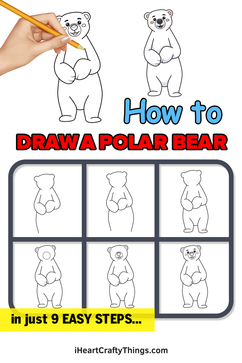 how to draw a polar bear in 9 easy steps