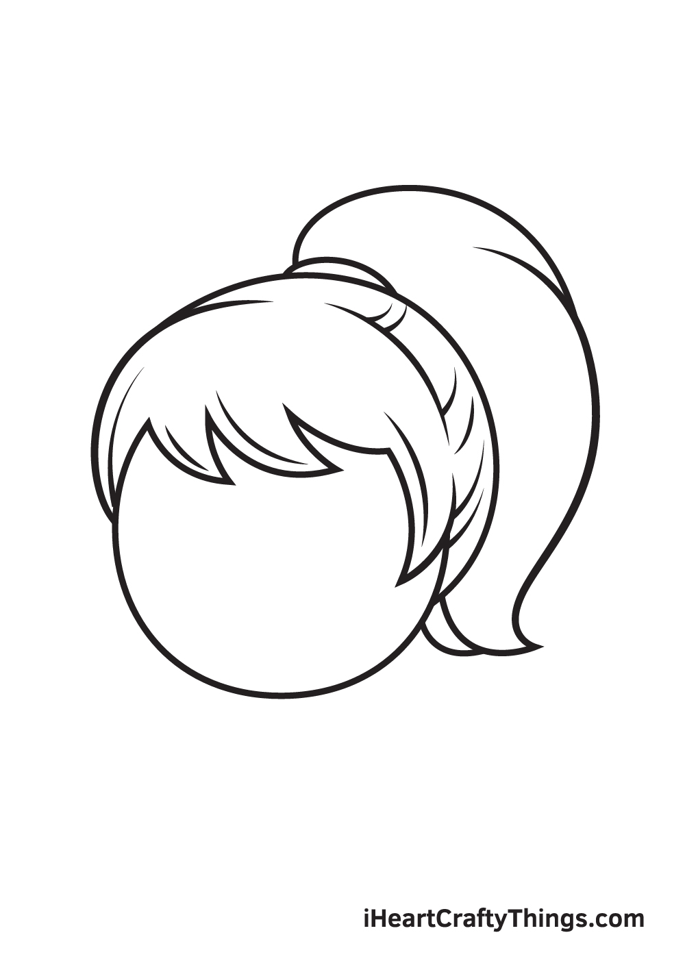 ponytail drawing step 8