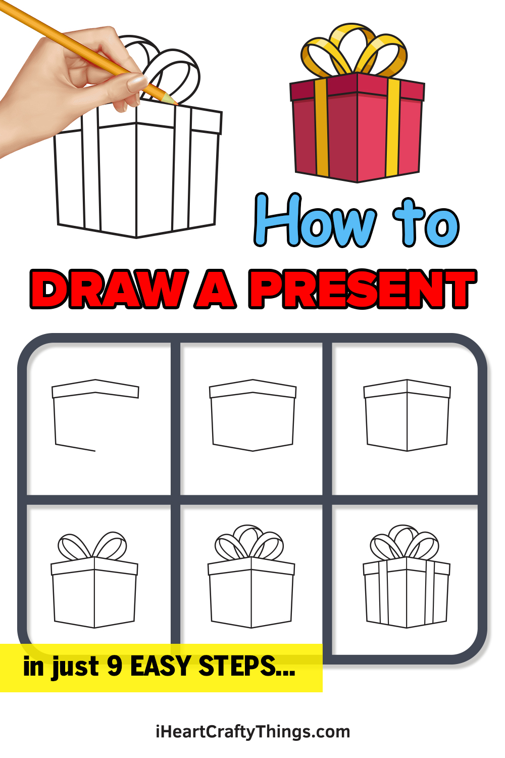 how to draw a present in 9 easy steps