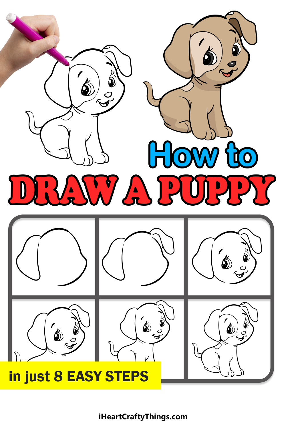 how to draw a puppy in 8 easy steps