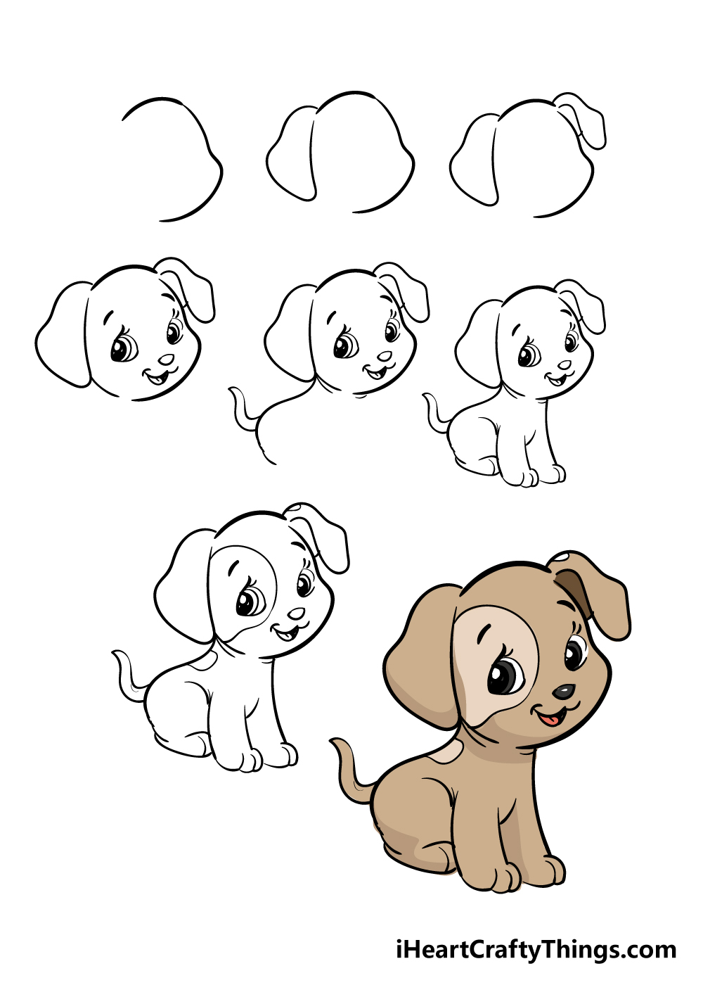 how to draw puppy in 8 steps