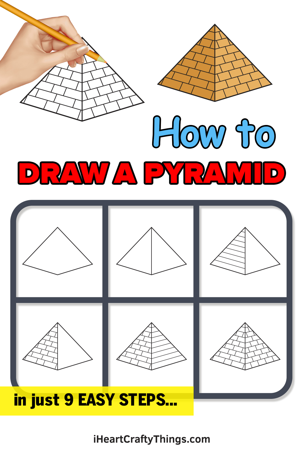 how to draw a pyramid in 9 easy steps