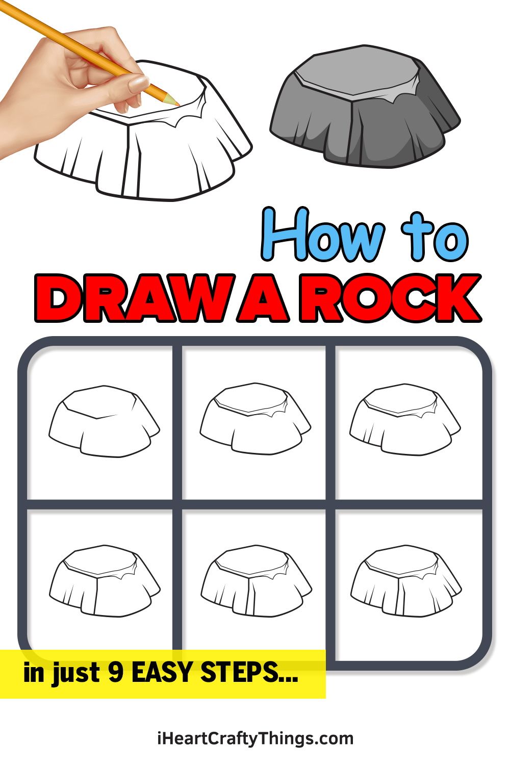 how to draw a rock in 9 easy steps