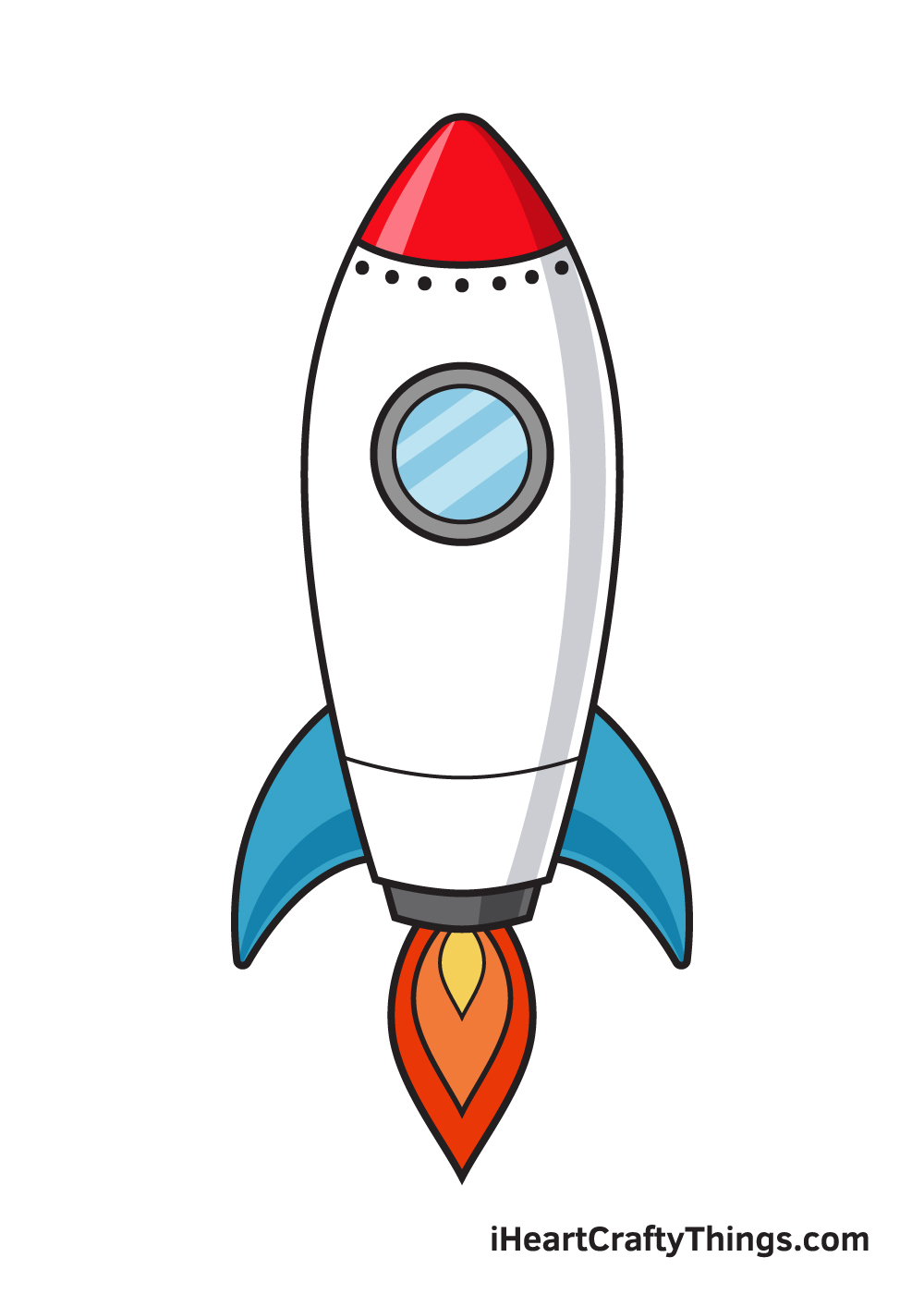 rocket drawing 9 steps