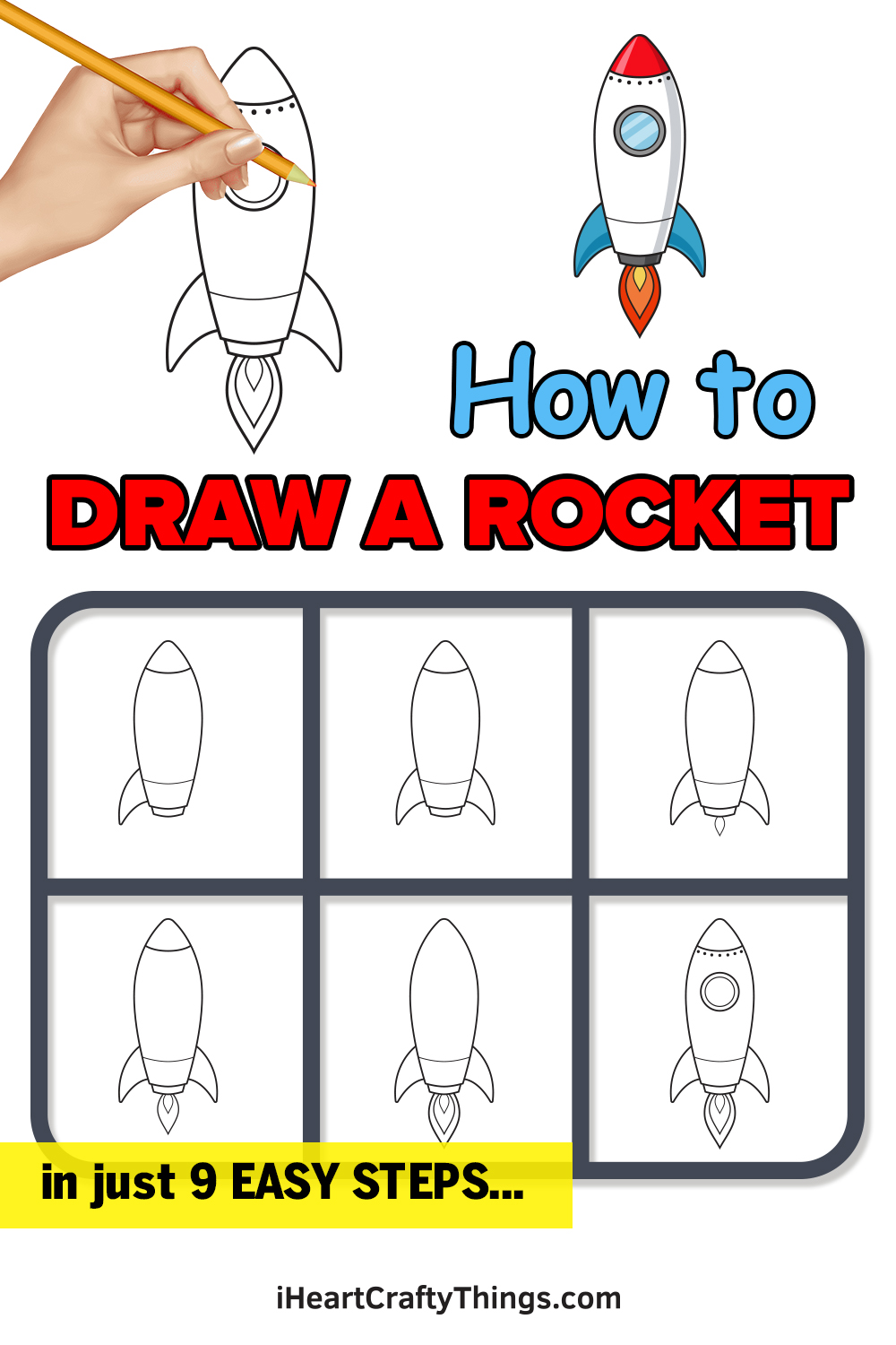how to draw a rocket in just 9 easy steps