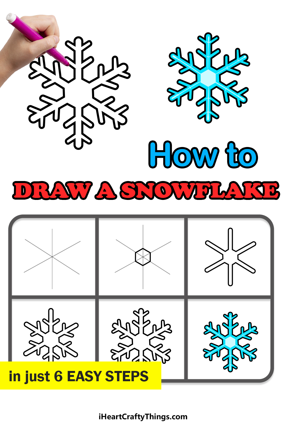 how to draw snowflake in 6 easy steps