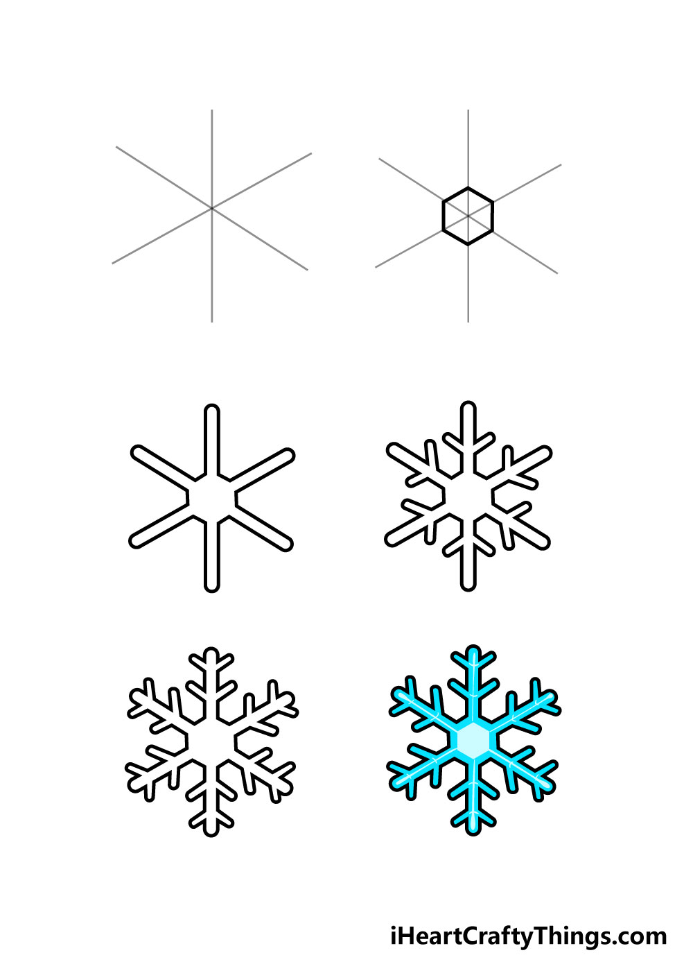 how to draw snowflake in 6 steps