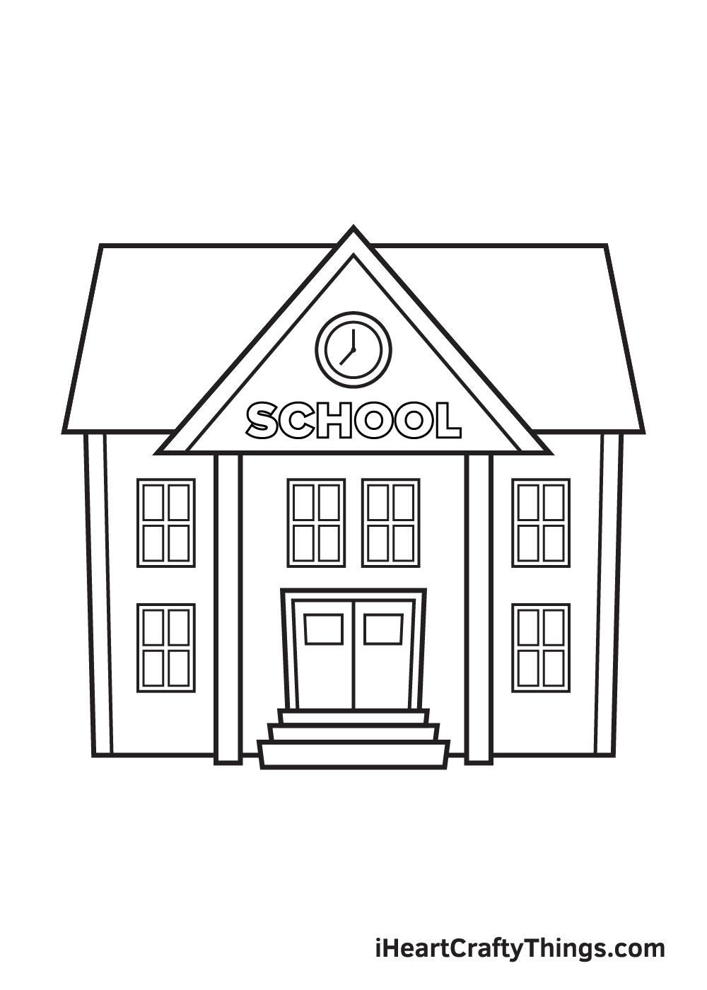 school drawing step 9