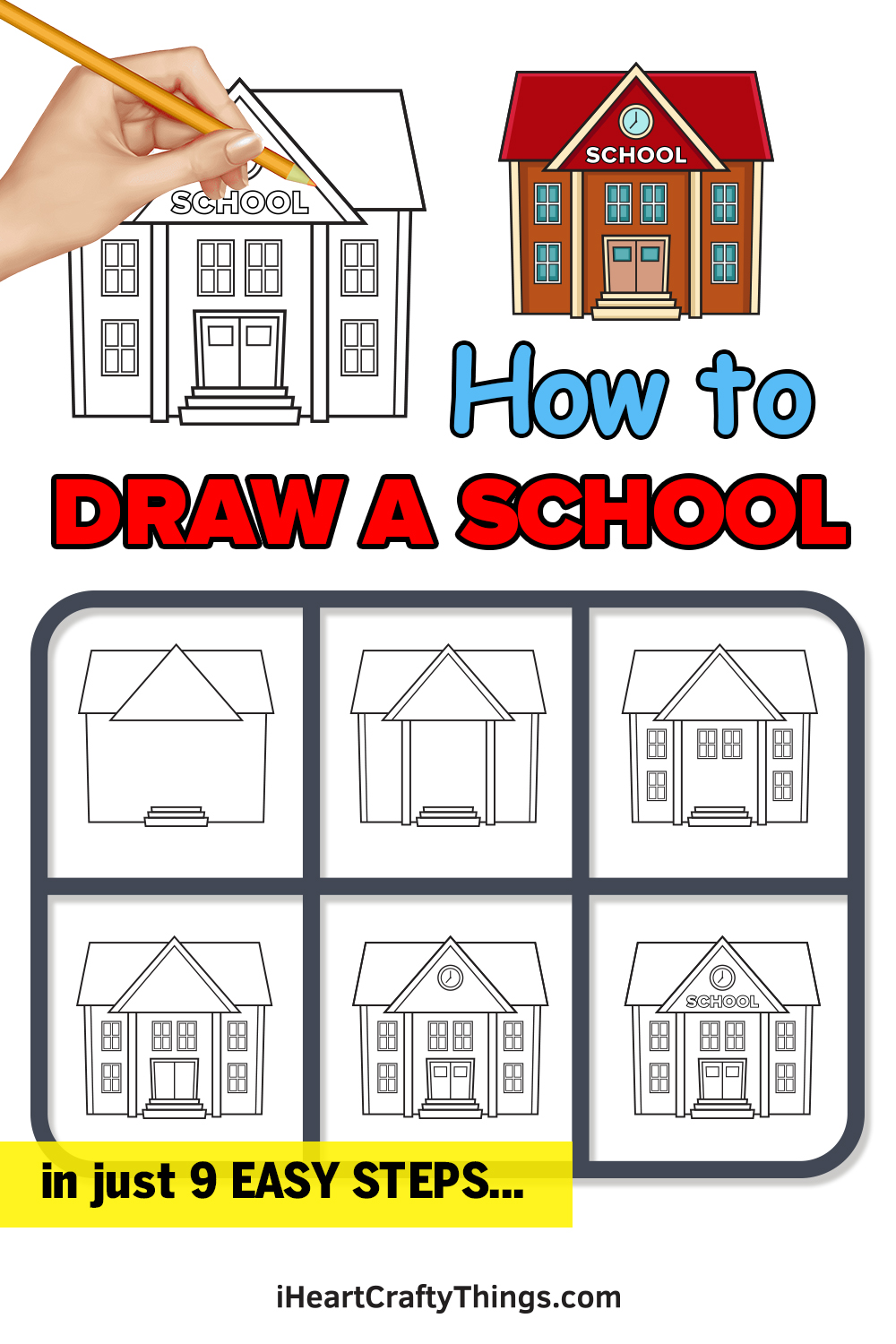how to draw a school in 9 easy steps