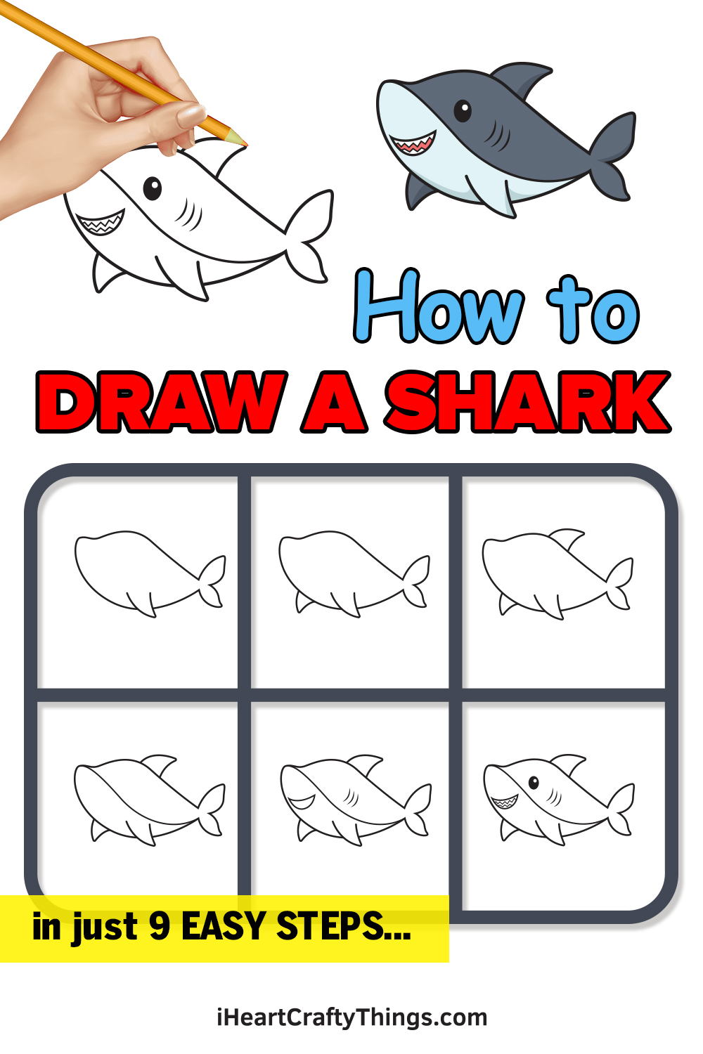 how to draw a shark in 9 easy steps