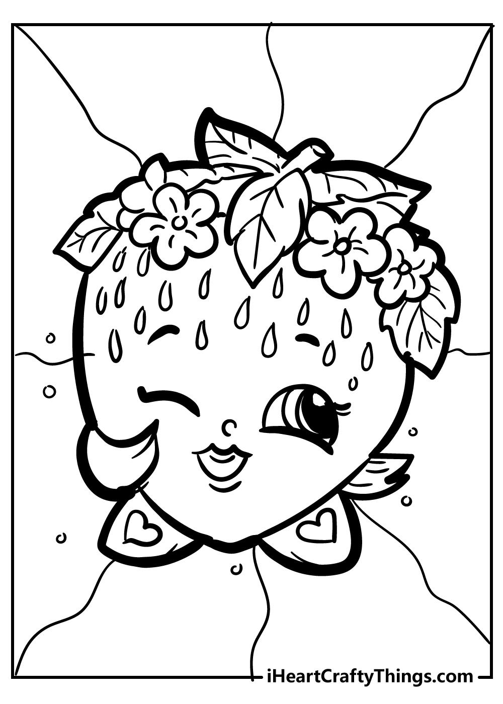 shopkins strawbery kiss coloring pages free printable