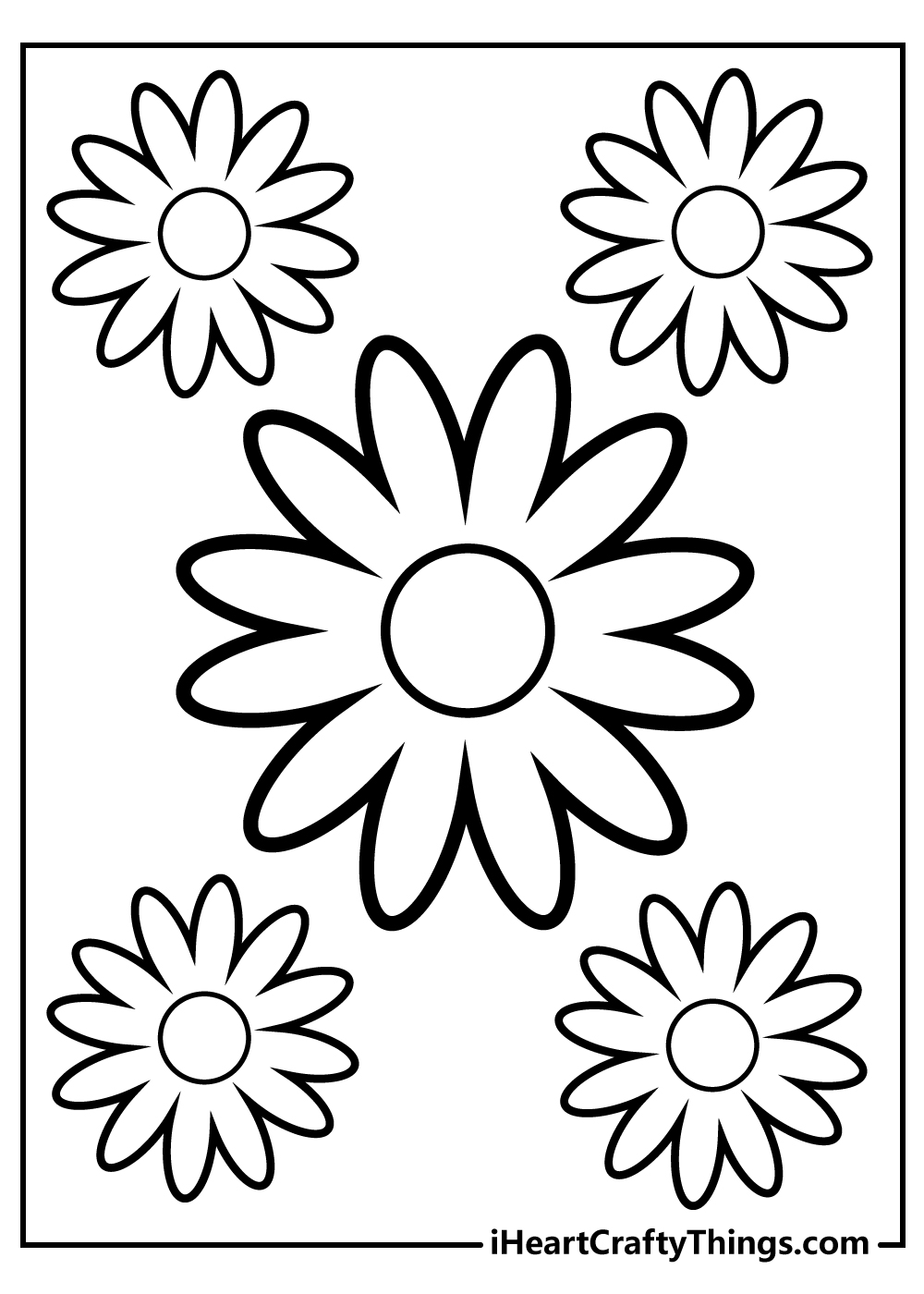 black and white simple flower coloring book for toddlers