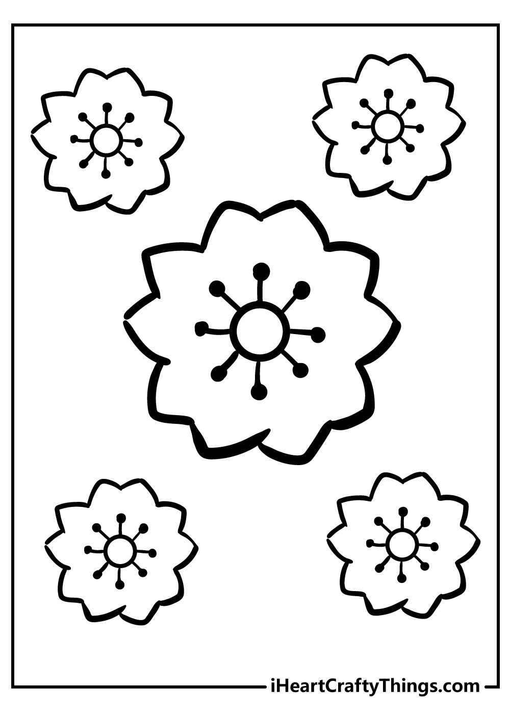 black and white simple flower coloring pages for kids