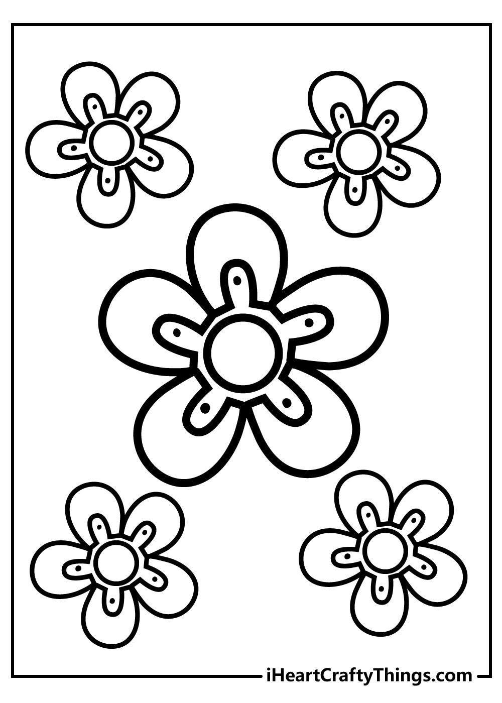 simple flower printable coloring book free