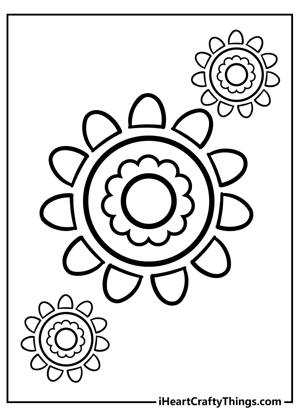 new simple flower coloring images for kids