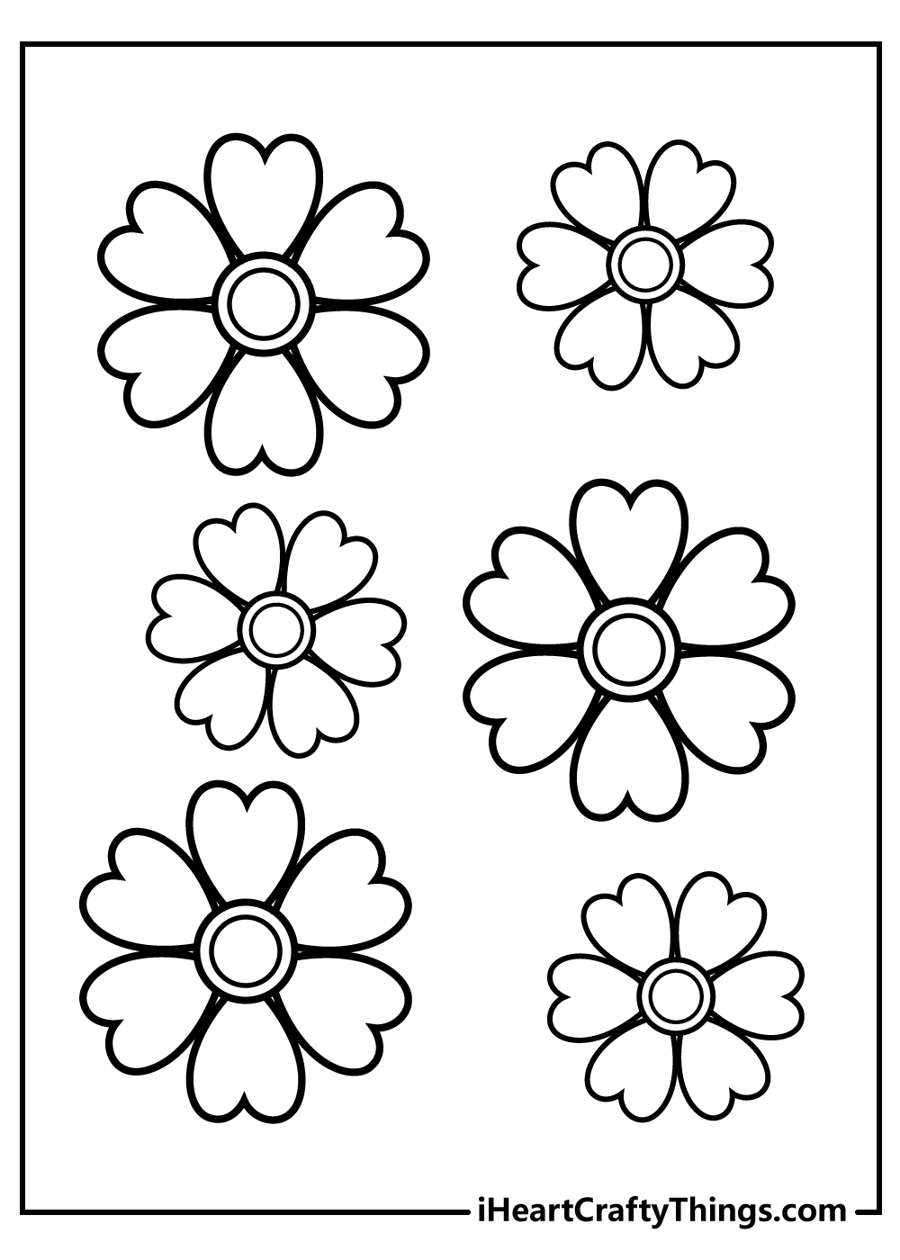 four-leaf clover simple flower coloring pages free printable