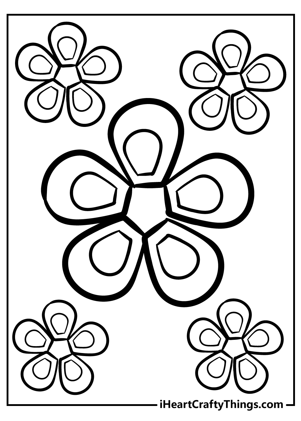 adult coloring free printable simple flowers coloring pages