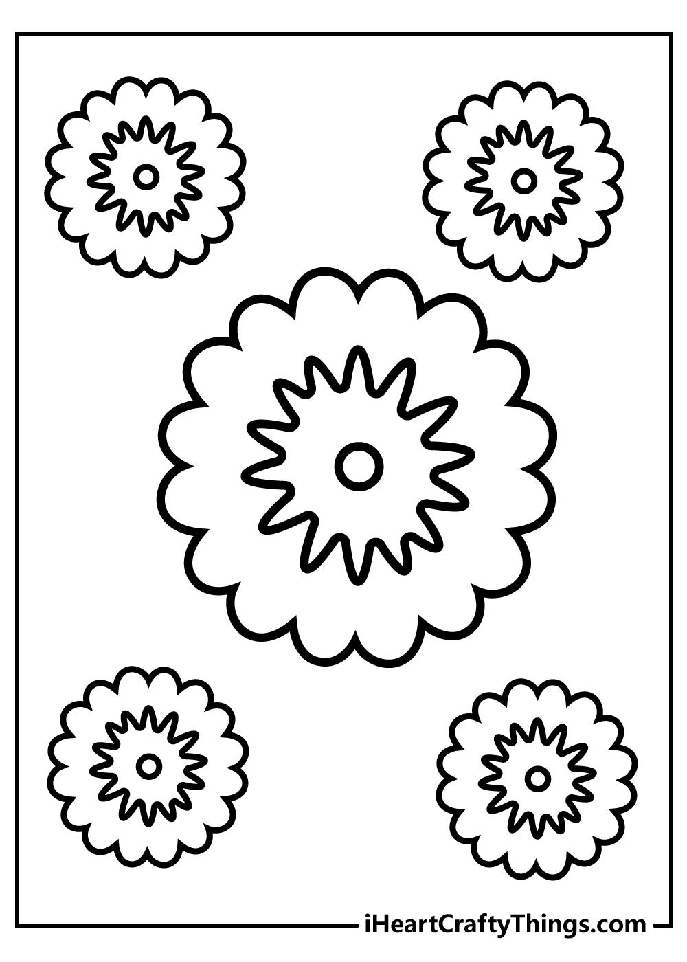free printable mandala coloring simple flowers