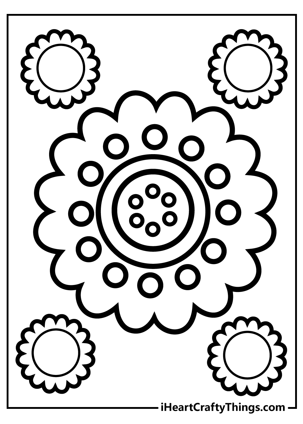 valentine's day simple flower coloring pages to print
