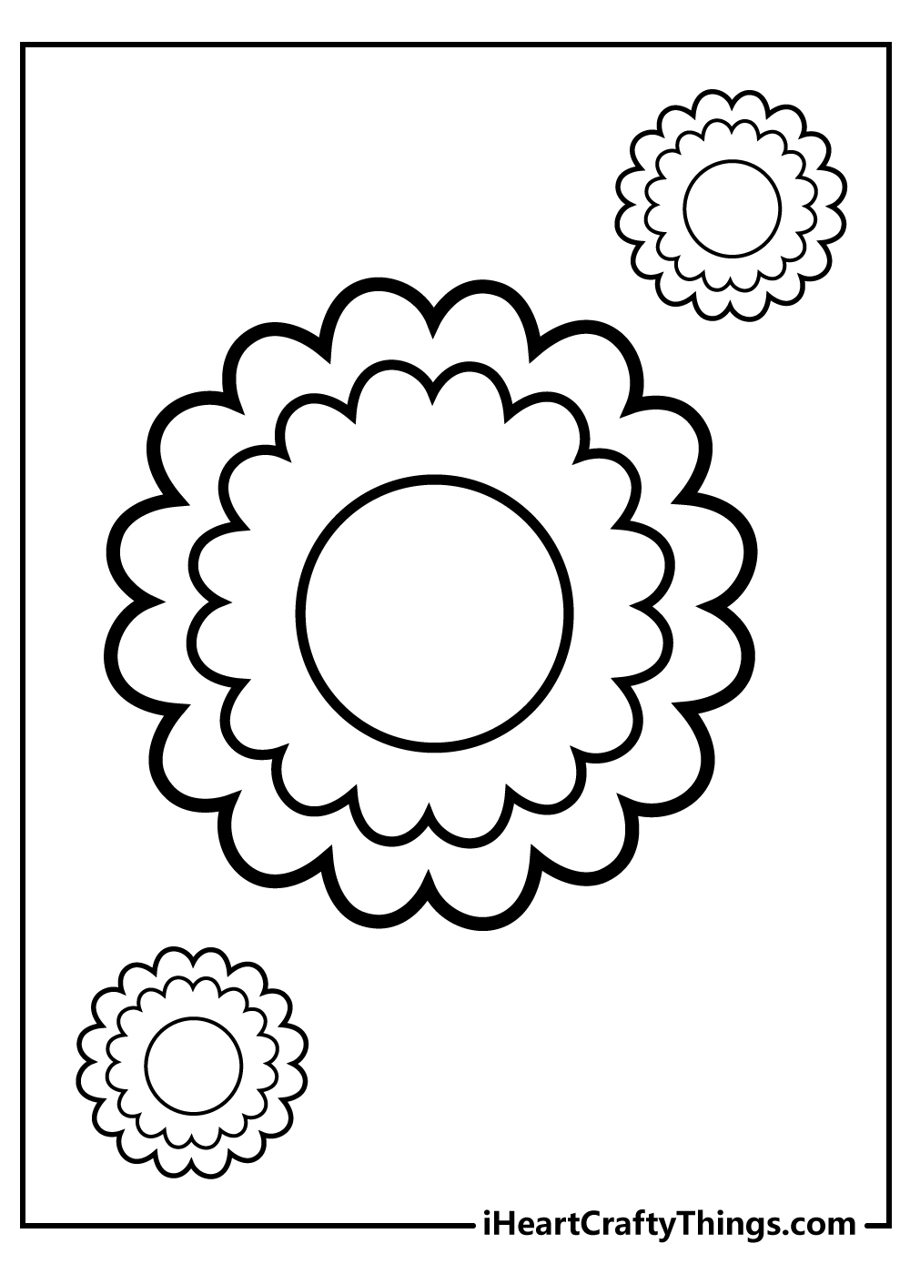 easy to color flower pages for kids free download