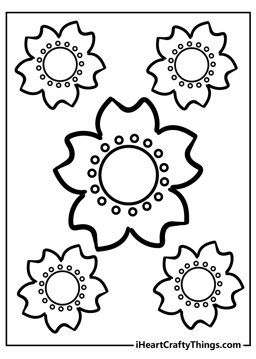 black and white free printable simple flower coloring images