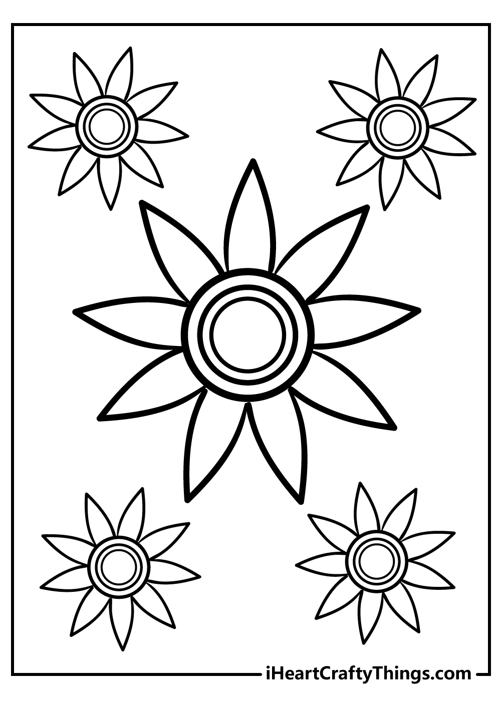 simple flower coloring pages for adults printable