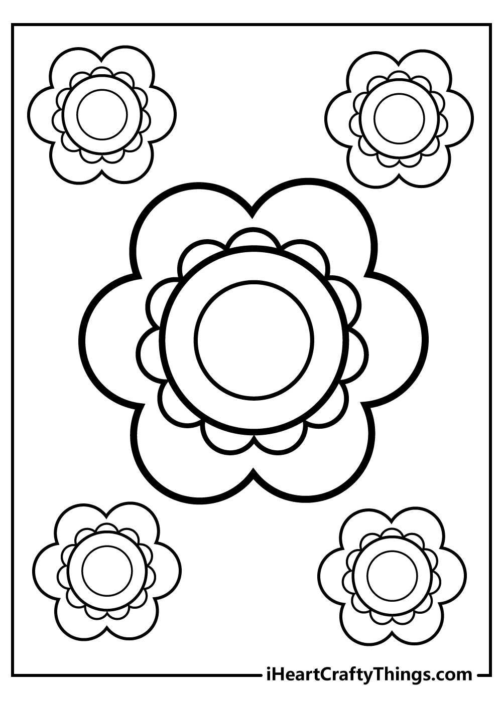simple flower coloring sheet for kids