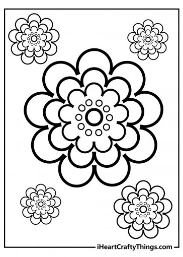simple flower coloring images free download