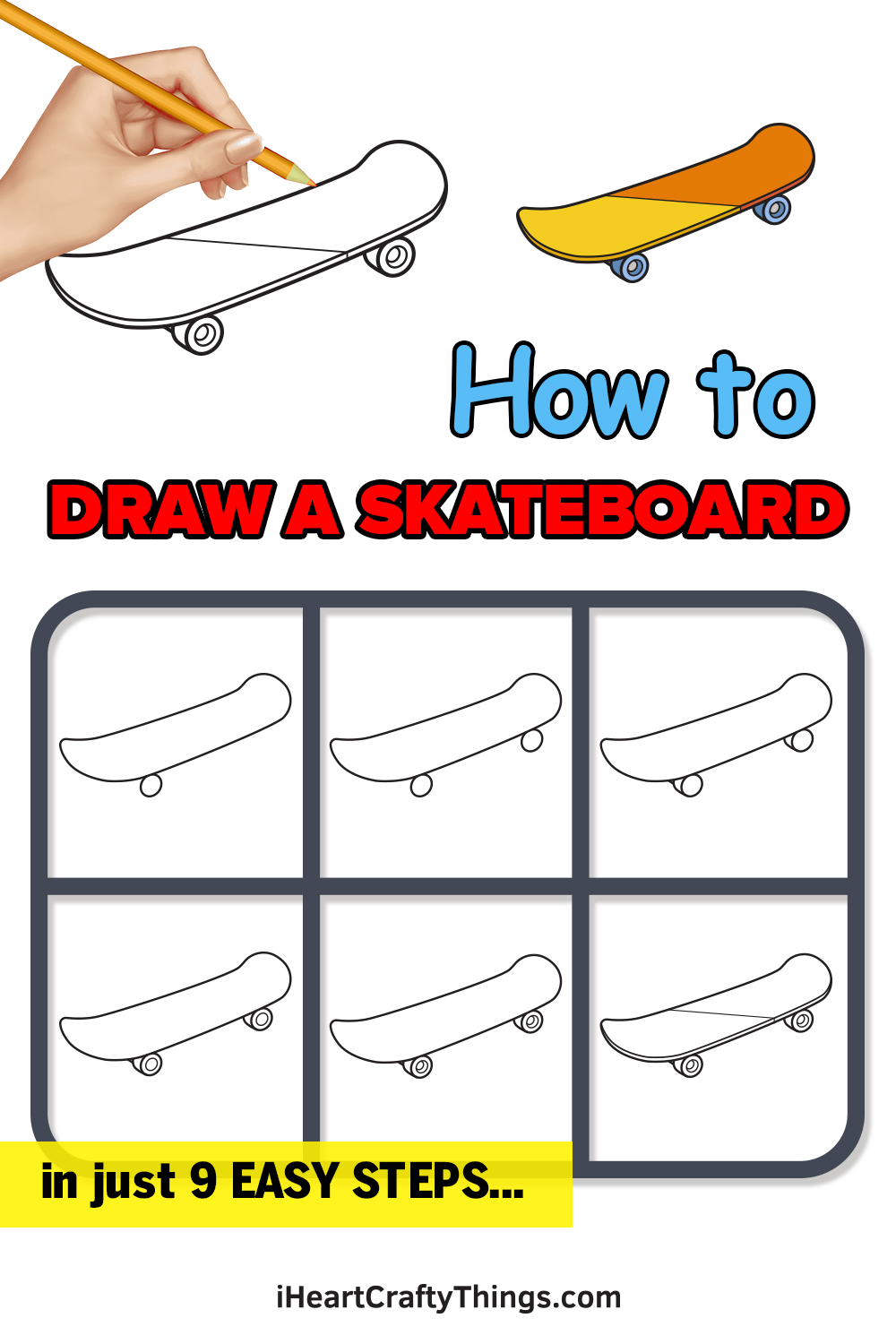 how to draw a skateboard in 9 easy steps