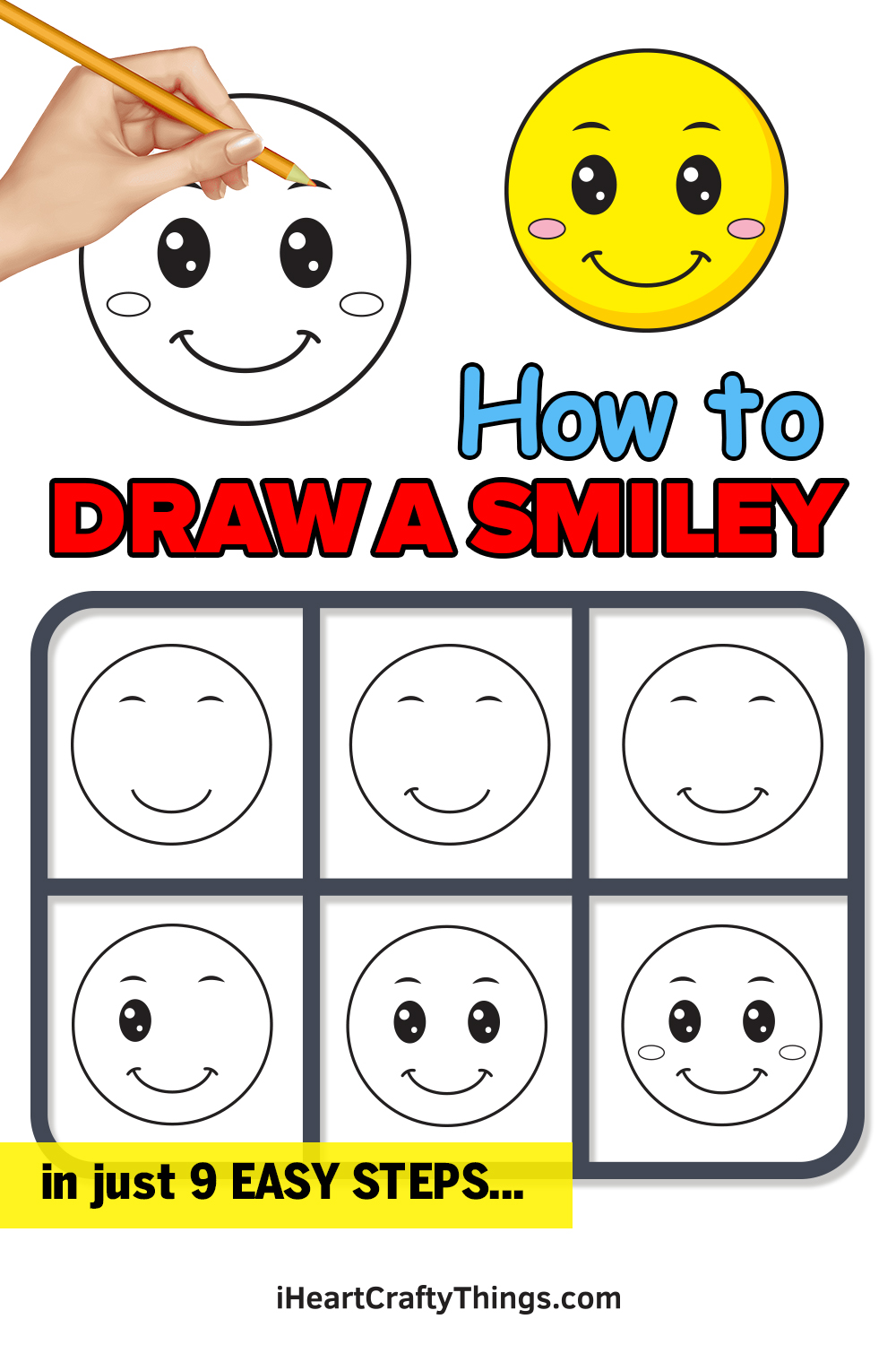 how to draw a smiley in 9 easy steps