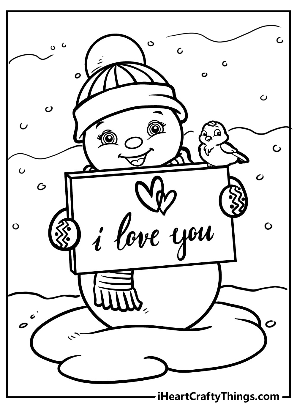 i love you snowman coloring pages free pdf