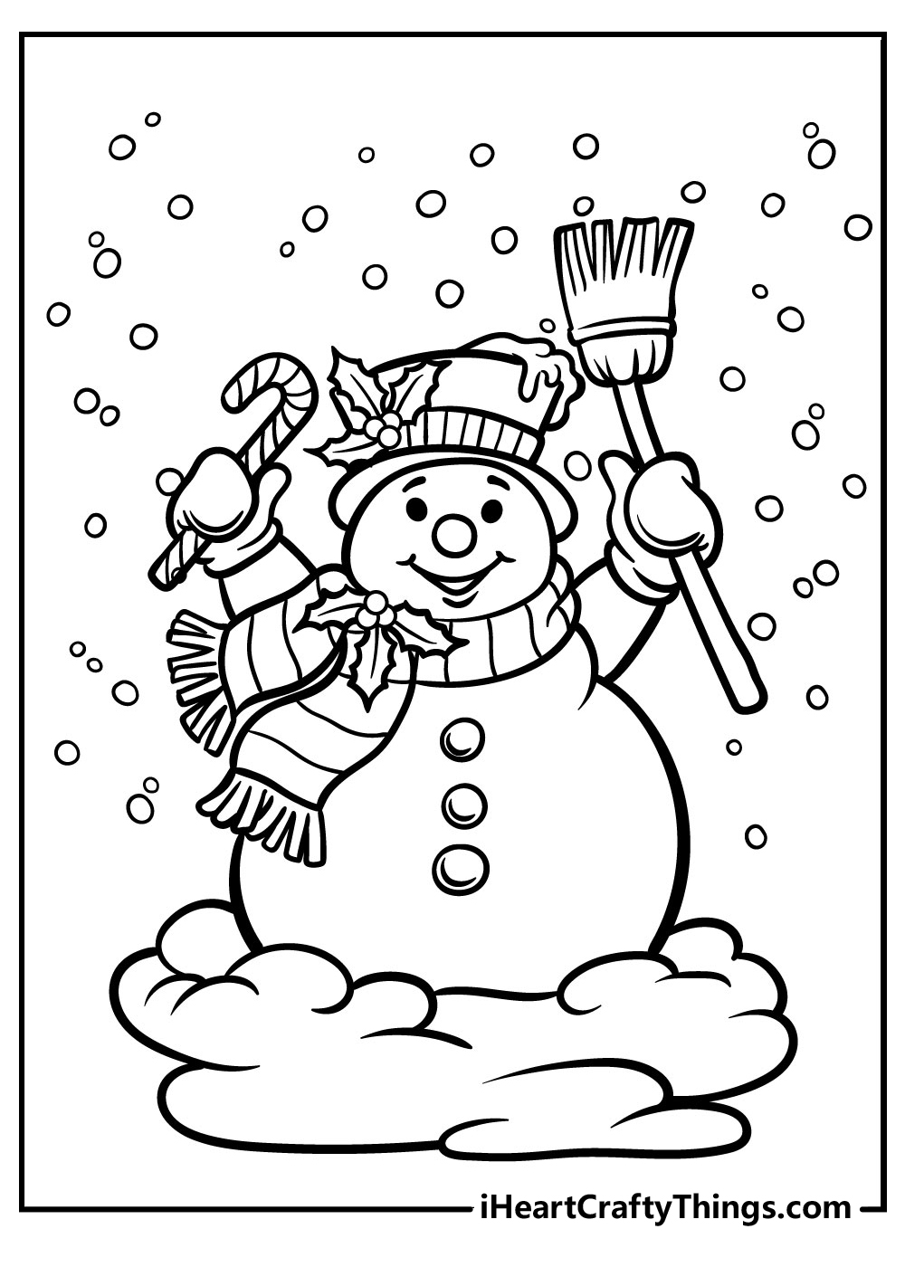happy cartoon snowman coloring pages
