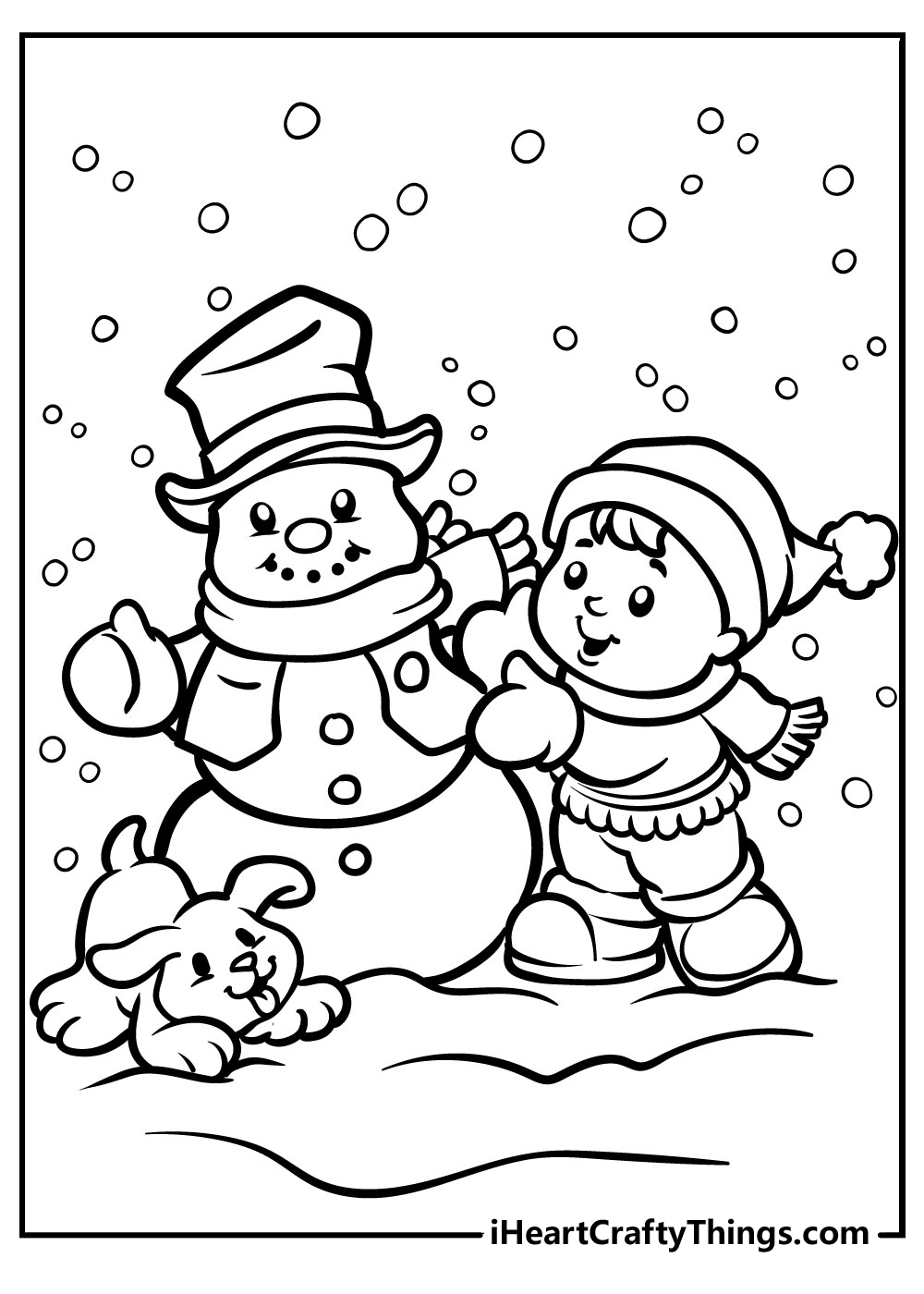 winter fun snowman coloring pages free printable