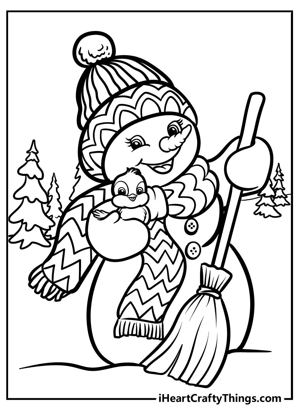 free printable Christmas coloring snowman