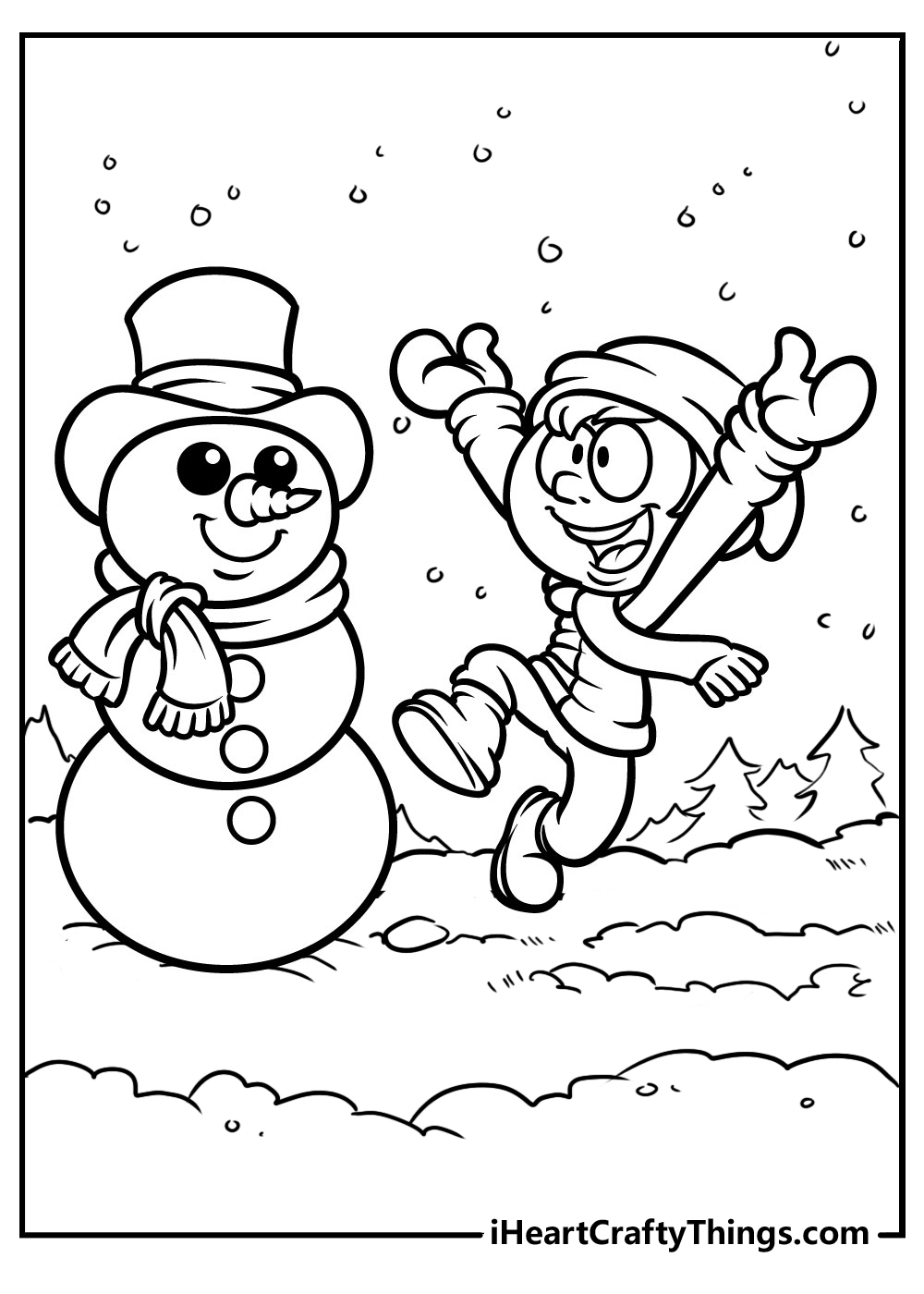happy snowman coloring pages free printable