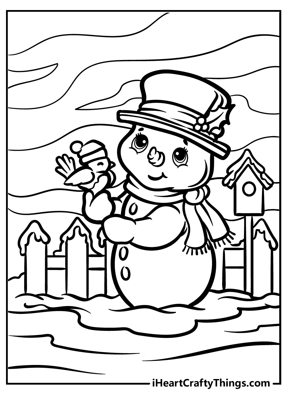 happy new year snowman coloring pages free printable