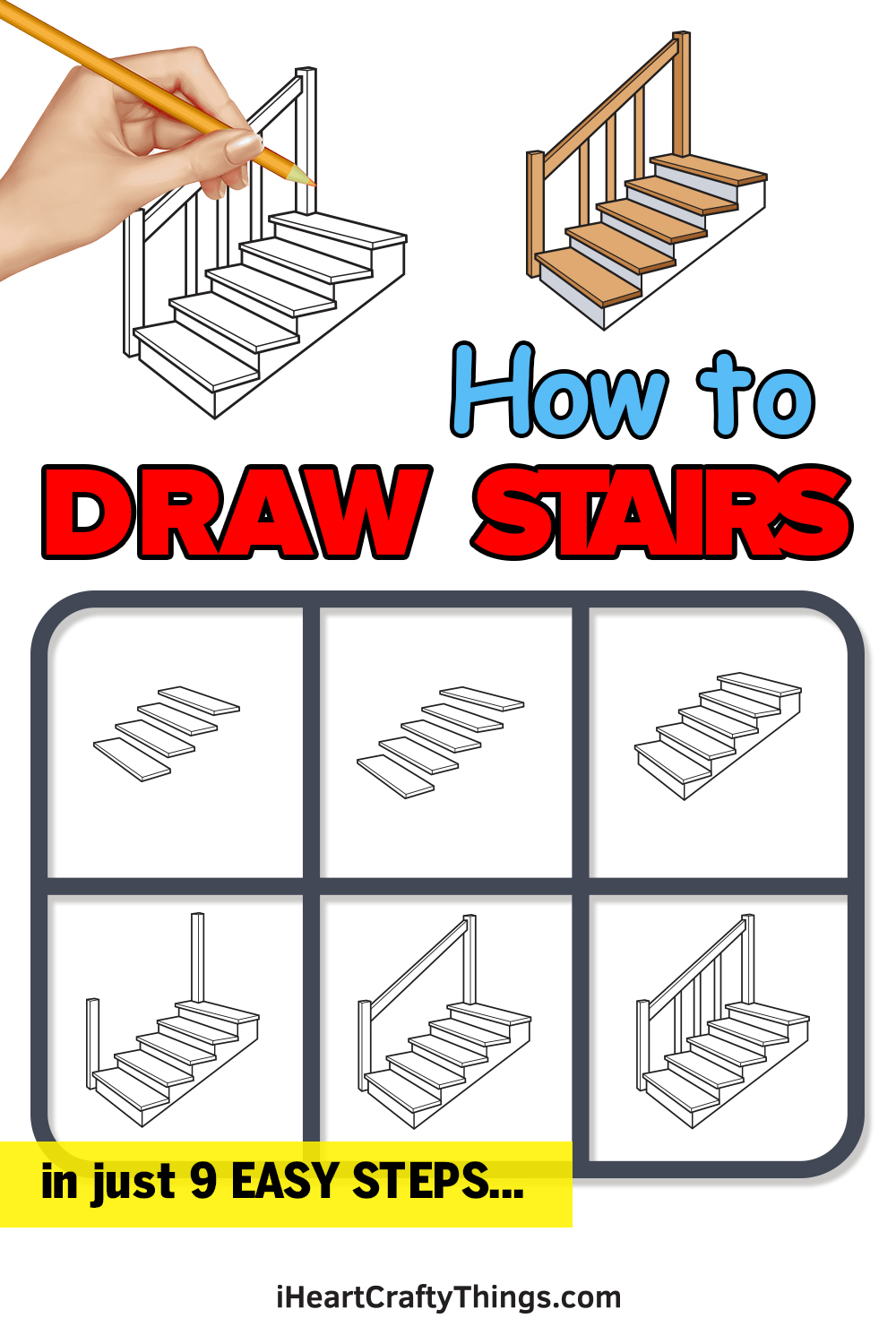 how to draw stairs in 9 easy steps
