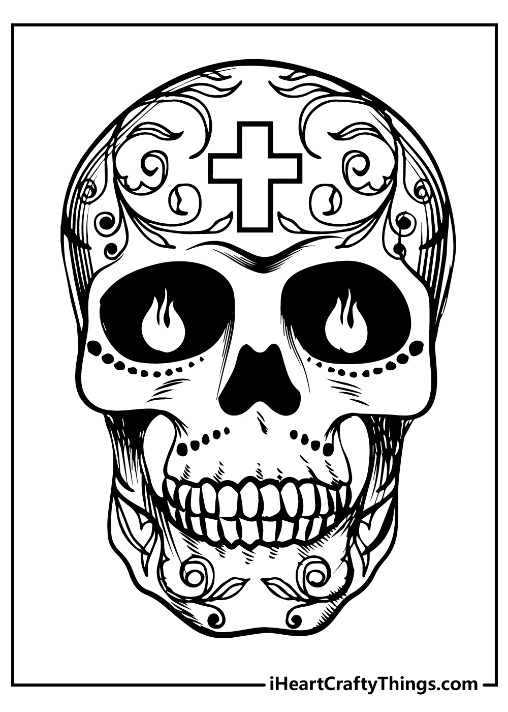 skull tattoo sugar skull coloring pages free download