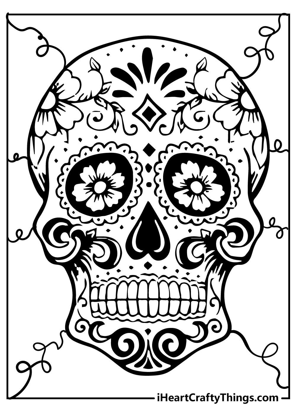 sugar skull colouring pages free printable