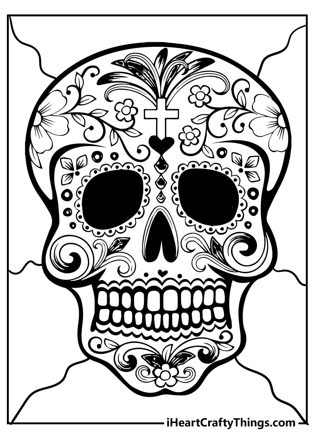 free printable sugar skull colouring sheets for adults