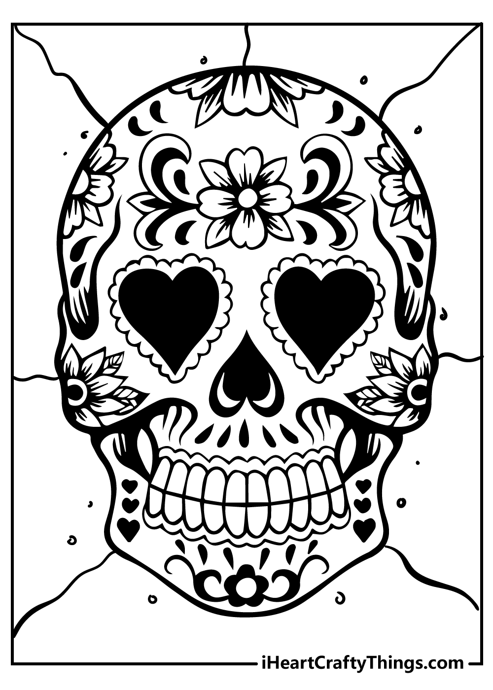 sugar skull colouring pages for kids free printable