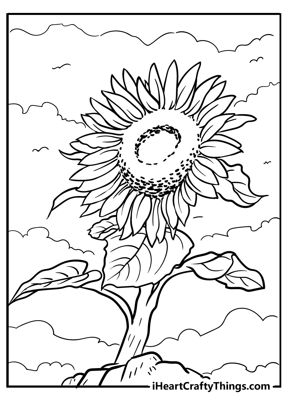 sunflower coloring images to print
