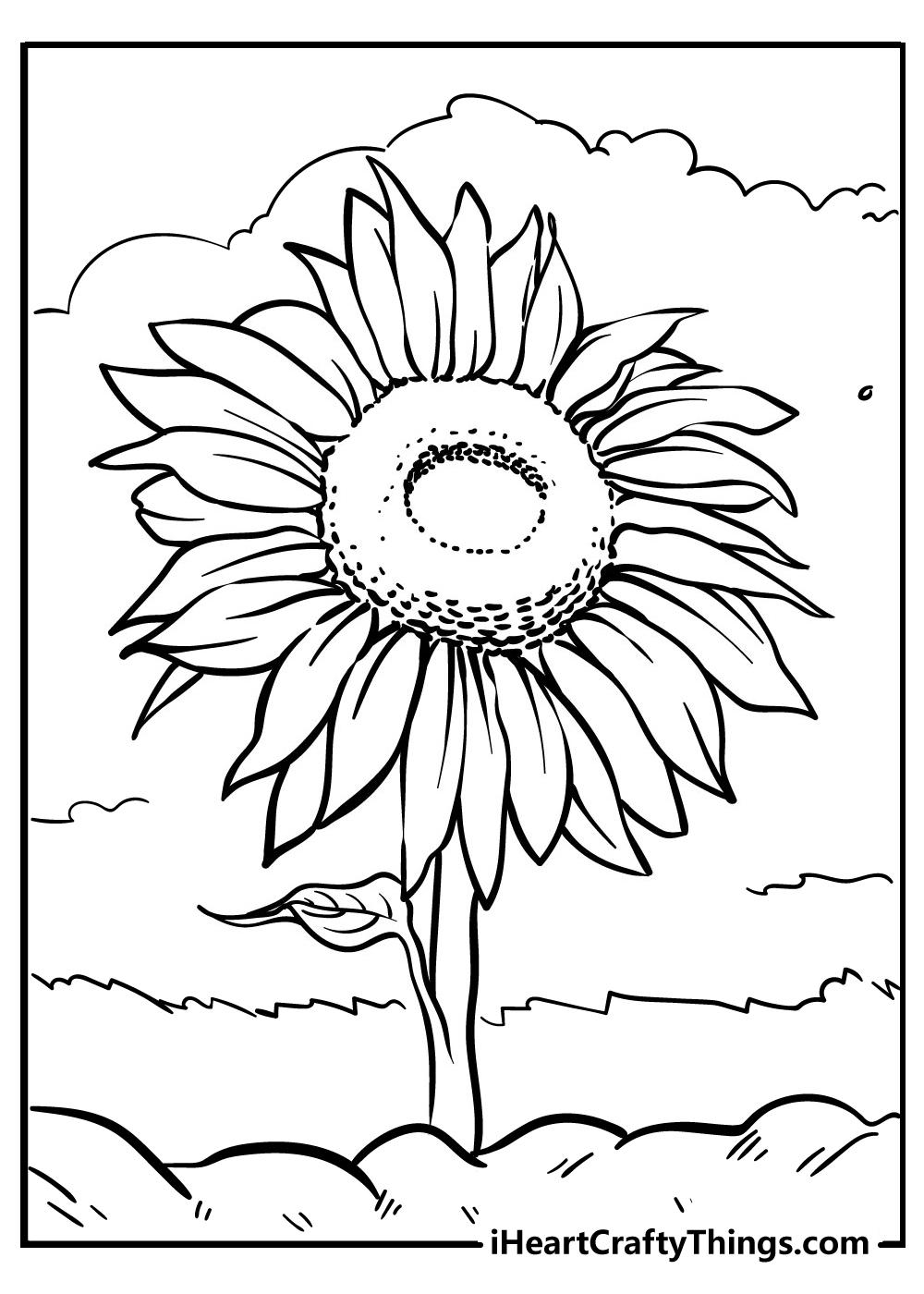 sunflower coloring book free printable