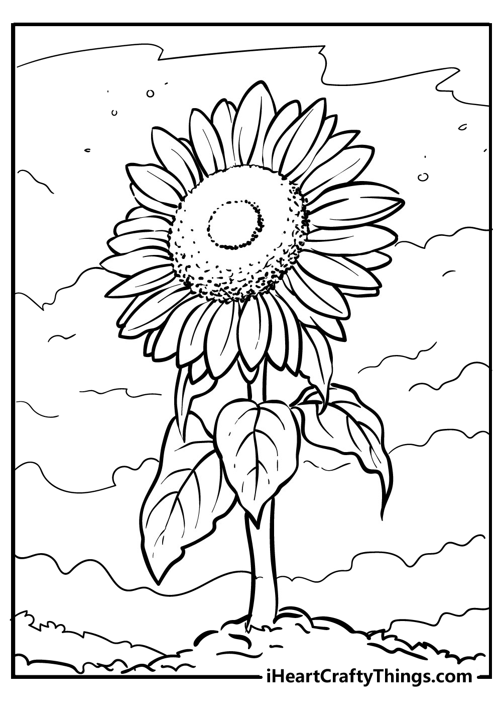 free printable sunflower coloring images for kids
