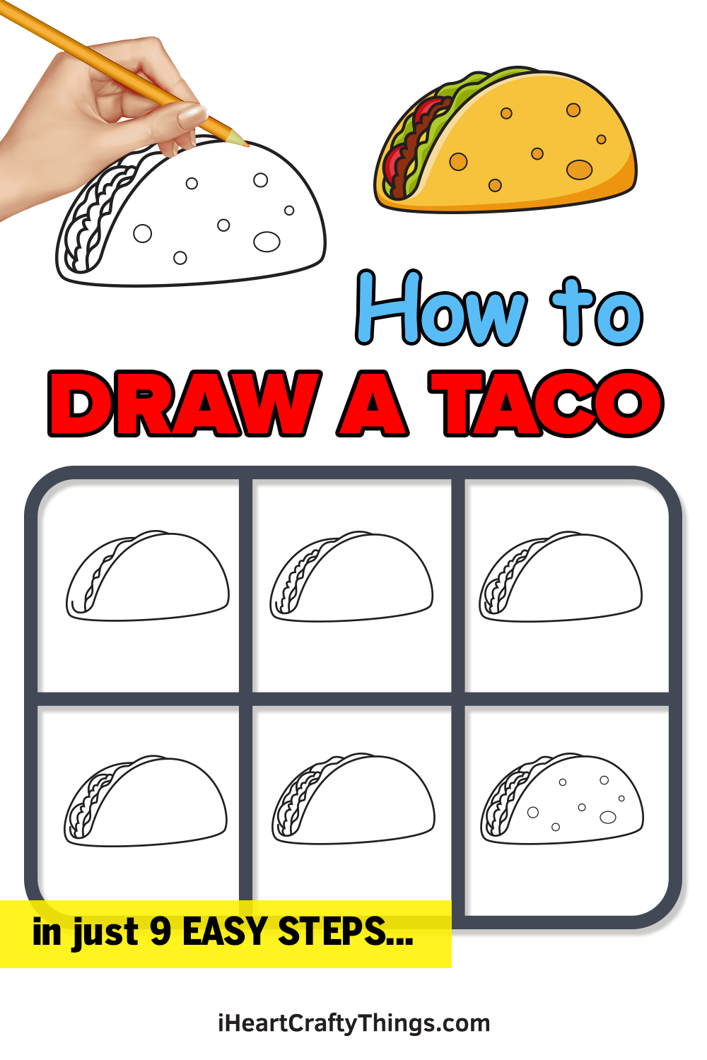 how to draw a taco in 9 easy steps