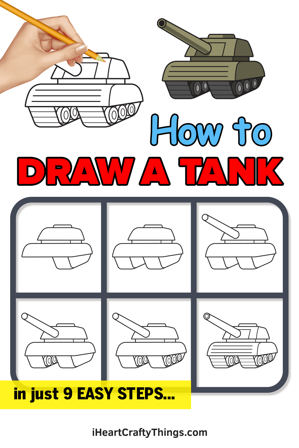 how to draw a tank in 9 easy steps
