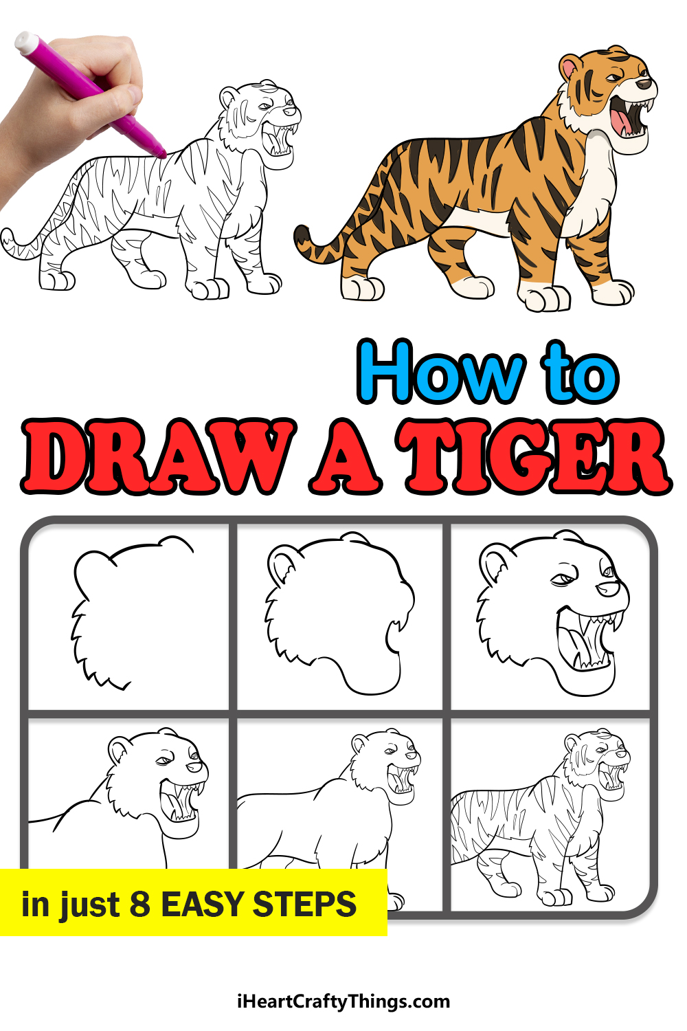 how to draw a tiger in 8 easy steps
